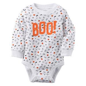 Halloween Baby Long Sleeve Bodysuit Pumpkin Orange